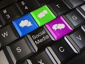 Social media on laptop keyboard. Conceptual image. 3d — Stock Photo