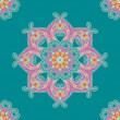 Circular leaf oriental ornament turquoise background — стоковый вектор #26342411