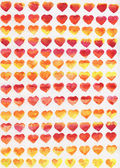 Watercolor hearts. Smooth color transitions of yellow, orange and red. Located in ranks. — Stock Photo