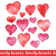 Lovely hearts. Watercolor shades of red, scarlet. — Stock Photo