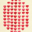 Watercolor hearts on tinted paper texture of flax. Figure stamps in the form of a hexagon. — Stock Photo