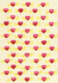 Watercolor hearts with golden wings on tinted paper texture of flax. Evenly stamps. — Stock Photo