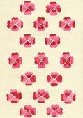 Aquarela corações selos na forma de uma flores na textura de papel cor de linho. uniforme padrão. — Foto Stock