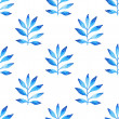 Watercolor blue floral on white background. Seamless ornament of color of the sea palm leafs. — Stock Photo #42373441