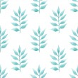Watercolor delicate aquamarine floral on white background. Seamless ornament of color of the sea palm leafs. — Stock Photo #42373443