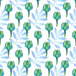 Watercolor green and aquamarine floral on white background. Seamless ornament palm leafs and cute flowers. — Stock Photo #42373461