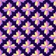 Medieval purple watercolor ornament of flowers. Bright color seamless pattern. Plum background. — Stock Photo