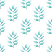 Watercolor delicate aquamarine floral on white background. Seamless ornament of color of the sea palm leafs. — Stock Photo
