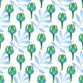 Verde acquerello e acquamarina floreale su sfondo bianco. foglie di palma ornamento senza soluzione di continuità e fiori carini. — Foto Stock