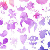 Seamless pattern with horse and ornamental plants. Watercolor hand painted background. Purple, yellow on white tones. — 图库照片