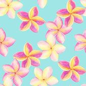 Plumeria. Seamless pattern watercolor. — Stock Photo