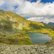 Mountain lake and summertime in the mountains,Capra lake,Fagaras mountains,Carpathians,Romania — Stock Photo