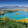 Stock Photo: Panoramic view of Bled Lake in Julian Alps,Slovenia,Europe