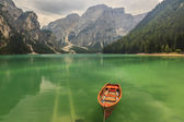 Braies Lake in Dolomiti mountains on a cloudy day,Trentino Alto — Stock Photo