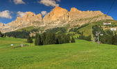 Panoramic view of Rosengarten mountain range in Dolomites,Italy — Stock Photo
