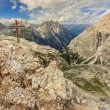 Summit cross on a Toblin tower,Dolomiti,Sudtirol,Italy — Stock Photo