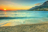 Beautiful sunset over the sea,Makarska,Croatia — Foto Stock