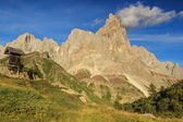 Wooden sign board in the mountains,Cimon Della Pala,Dolomiti,Italy — Stock Photo