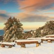 Beautiful morning and winter landscape,Carpathians,Transylvania, — 图库照片