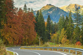 Empty highway and beautiful autumn landscape near Zakopane,Tatry — Stock Photo