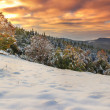 Beautiful morning lights and winter panorama,Carpathians,Transylvania,Romania — Stock Photo