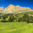 Wonderful golf course and Dolomites in background,Sudtirol,Italy — Stock Photo