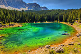 Carezza Lake in Dolomites,Val Di Fassa,South Tyrol,Italy — Stock Photo