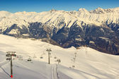 Ski lift and ski resort in french alps,Les Sybelles,France — Stock Photo