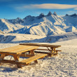 Stock Photo: Famous ski resort and beautiful peaks,Aiguilles D'Arves,Les Sybelles,France
