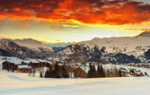 Evening landscape and ski resort in French Alps,La Toussuire,France — Stock Photo