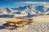 Famous ski resort and beautiful peaks,Aiguilles D'Arves,Les Sybelles,France — Foto de Stock