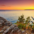 Amazing sunset on a sea,Makarska,Dalamatia,Croatia — Stock Photo