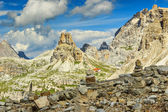 Toblin tower and Locatelli refuge,Dolomites,Italy — Stock Photo