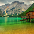 Boathouse at the Braies Lake on a cloudy day,Dolomites,Italy — Stock Photo #45063249