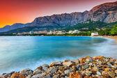 The famous Croatian riviera at sunset,Makarska,Dalmatia,Croatia — Stock Photo