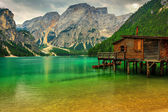 Boathouse at the Braies Lake on a cloudy day,Dolomites,Italy — Stock Photo