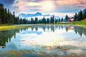 Majestic sunset in the Dolomites.Lago di Antorno,Italy — Stock Photo