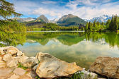 Wonderful mountain lake in the High Tatras,Strbske Pleso,Slovakia,Europe — Stock Photo