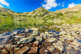 Beautiful glacier lake and colorful stones,Retezat mountains,Transylvania,Romania — Stock Photo