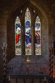 Old Stained Glass Window - Matthew 4:19 — Stock Photo