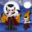 Vampire Halloween Greeting Card And Bookmark Set — Stock Photo #21824405