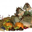 Stock Photo: Fall Goofy Thanksgiving Squirrels