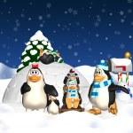 Penguin Family Christmas Holiday — Stock Photo