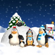 Penguin Family Christmas Holiday — Stock Photo #21827587