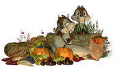 Fall Goofy Thanksgiving Squirrels — Stock Photo