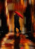 şehir merkezindeki fantezi romantizm ve sevgi tebrik kartı veya duvar sanat illüstrasyon — Stok fotoğraf