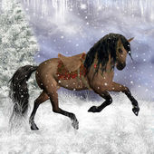 Fantasy Christmas Horse Illustration — Stock Photo