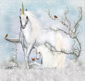 Fantasy Unicorn Winter Holiday — Stock Photo