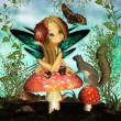 "Fairy On Mushroom - ""Oh pretty butterfly"" - Stock Photo"