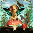 "Stock Photo: Fairy On Mushroom - ""Oh pretty butterfly"""